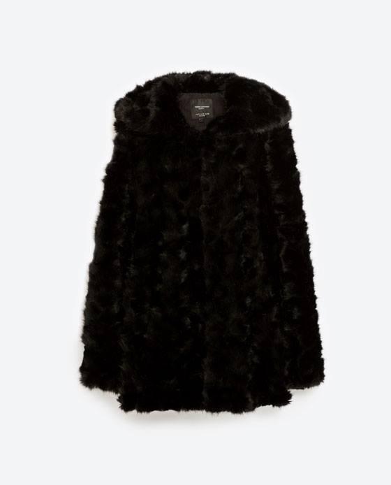 Zara - Coat with faux fur hood