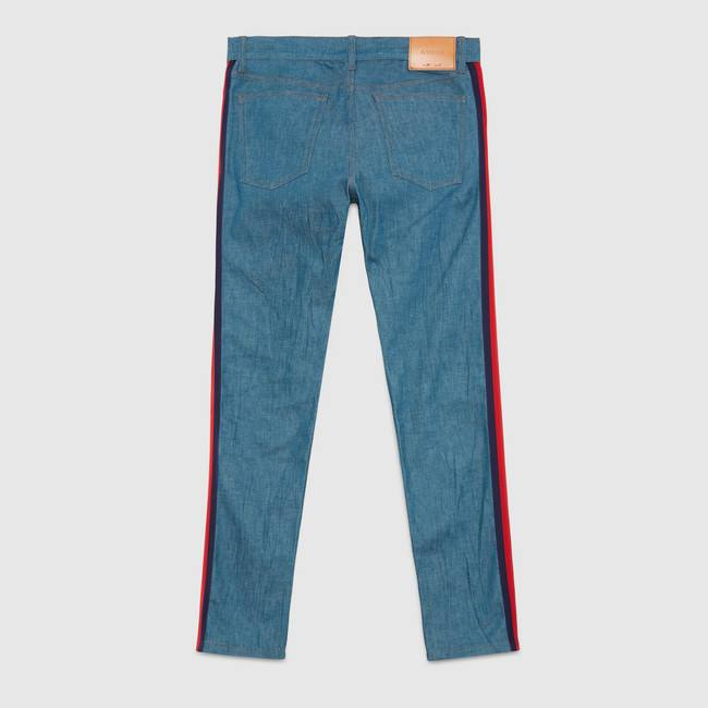 Gucci - Slim denim pant with Web