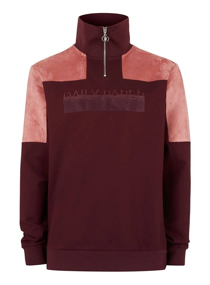 Daily Paper - burgundy zip-up sweater