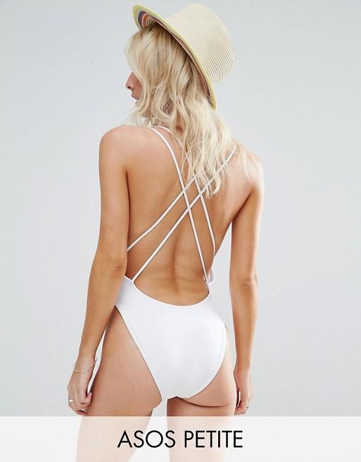 Asos Petite Cross Back High Leg Swimsuit 2