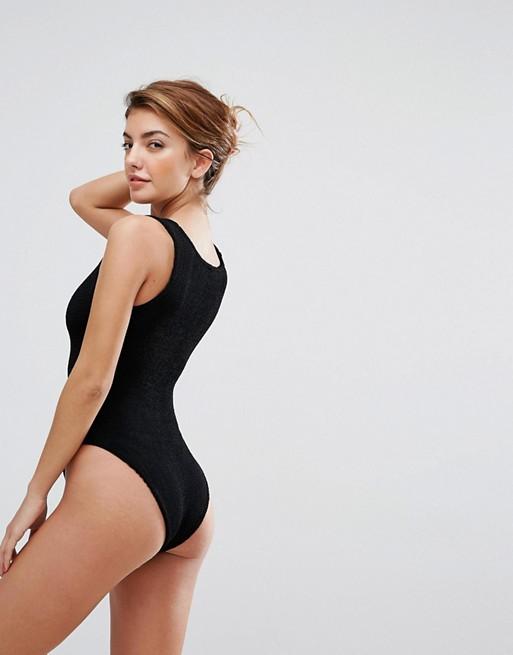 Hunza G For Asos Lattice Crinkle Swimsuit 2