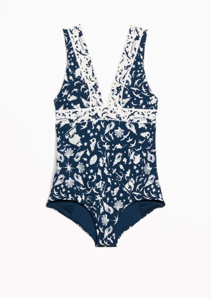 V-Neck Swimsuit Blue - & Other Stories