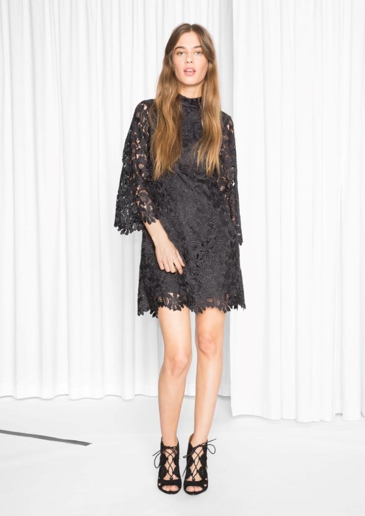 Little Black Crochet Dress