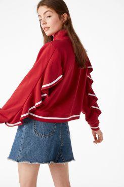 Monki - Zip ruffle jacket